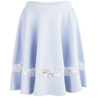 Lavish Alice Women's Scuba Lace Insert Skater Skirt Powder Blue