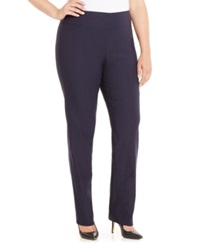 Charter Club Plus Size Tummy Control Slim Leg Pull On Pants Only At Macy's Deepest Navy