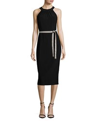 Tommy Hilfiger Belt Accented Halterneck Dress Black