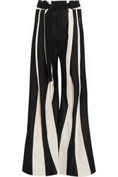 Ann Demeulemeester Striped Cotton And Linen Blend Wide Leg Pants Black
