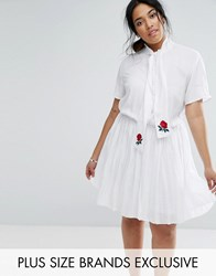 Unique 21 Hero Plus Short Sleeve Skater Dress With Rose Embroidered Scarf Detail White