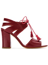 Sarah Chofakian Panelled Sandals Red