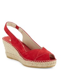 Vidorreta Sandra Crisscross Espadrille Wedge Sandals Red
