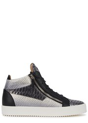 Giuseppe Zanotti Python Print Leather Hi Top Trainers Silver