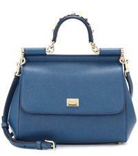 Dolce And Gabbana Sicily Small Leather Shoulder Bag Blue
