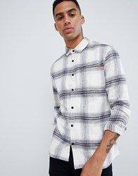 Only And Sons Heavy Check Shirt In Regular Fit Cloud Dancer White