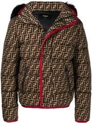 Fendi Ff Motif Puffer Jacket Brown