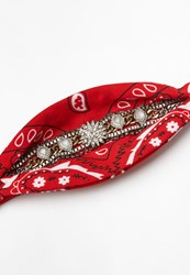 Missguided Red Diamante Detail Scarf Choker Necklace
