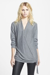Leith Side Tie Wrap Sweater Gray