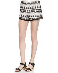 Thakoon Addition Tribal Pattern Relaxed Shorts Black Blush