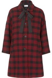 Red Valentino Redvalentino Bow Detailed Checked Tweed Coat It36