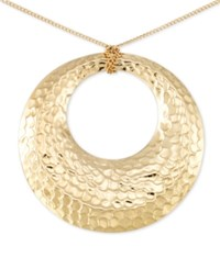 Macy's Hammered Disc Long Length Pendant Necklace In 14K Vermeil