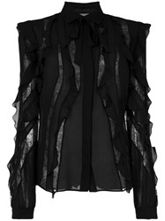 Elie Saab Sheer Stripes Frilled Blouse Women Silk Polyamide Rayon 38 Black