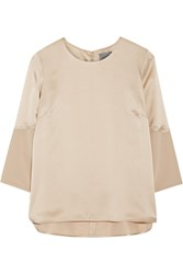 Maiyet Georgette Trimmed Hammered Silk Satin Top Beige