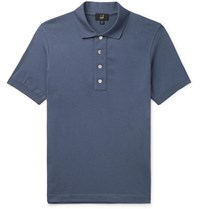 Dunhill Knitted Cotton Polo Shirt Blue