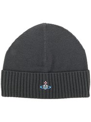 Vivienne Westwood Logo Embroidered Ribbed Beanie Grey