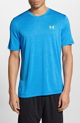 Men's Under Armour 'Ua Tech' Loose Fit Short Sleeve V Neck T Shirt Blue Jet Hi Vis Yellow