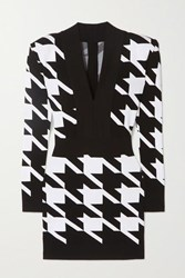 Balmain Houndstooth Stretch Knit Mini Dress Black