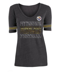 5Th And Ocean Pittsburgh Steelers Tri Blend Foil Sleeve Stripe T Shirt Black