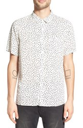 Native Youth Men's Short Sleeve Print Woven Shirt White Black