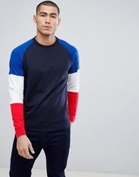 Only And Sons Crew Neck Sweat With Contrast Colour Block Sleeves Night Sky Navy