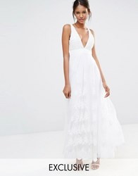 A Star Is Born Embellished Top Mesh Overlay Maxi Dress White