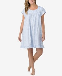 Eileen West Plus Size Lace Trimmed Printed Cotton Nightgown Blue Geo
