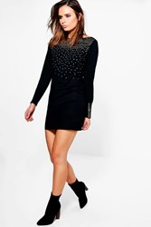 Boohoo Studded Zip Sleeve Jumper Dress Black