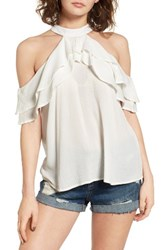 Band Of Gypsies Women's Ruffle Cold Shoulder Blouse Ivory