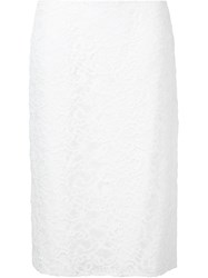Nina Ricci Lace Pencil Skirt White
