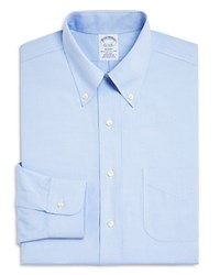 Brooks Brothers Pinpoint Non Iron Classic Fit Button Down Dress Shirt Blue