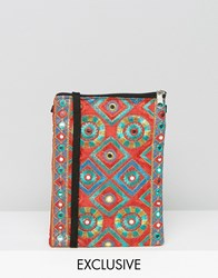 Reclaimed Vintage Embroidered Cross Body Bag Red
