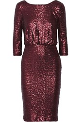 Badgley Mischka Sequined Tulle Dress Red