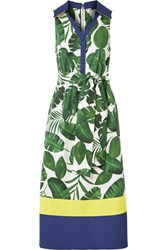 Alice Olivia Margot Printed Cotton Poplin Dress Green Gbp