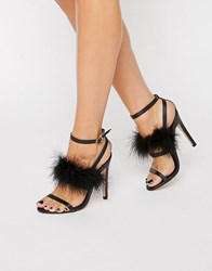 Truffle Collection Faux Feather Trim 3 Part Heeled Sandals Black