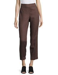 Eileen Fisher Petite Solid Linen Ankle Pants Brown