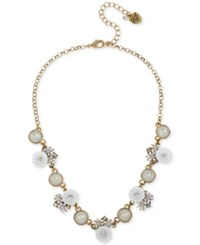 Betsey Johnson Gold Tone Iridescent Disc And Flower Statement Necklace