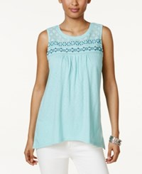 Style And Co Embroidered Mesh Top Only At Macy's Beach Day Aqua