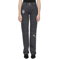Maison Martin Margiela Mm6 Black Aides France Ripped Knee Panel Jeans