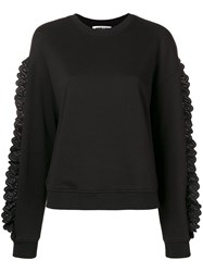 Mcq By Alexander Mcqueen Lace Trimmed Sweatshirt Black