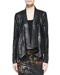 Donna Karan Leather Cozy Jacket With Jersey Insert Women's