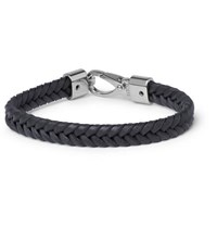 Tod's Woven Leather And Silver Tone Bracelet Midnight Blue