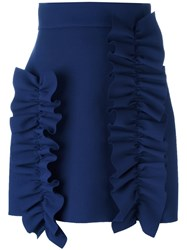 Msgm Ruffled Detail Short Skirt Blue