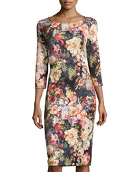 5Twelve Floral Print Long Sleeve Ponte Dress Black Pink Orange