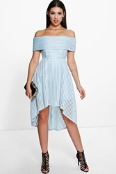 Boohoo Off The Shoulder Dip Hem Full Midi Dress Pale Blue