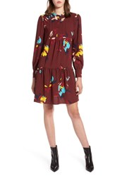 Halogen Pintuck Detail Shift Dress Burgundy Garden Floral