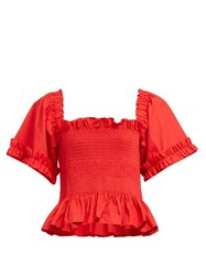 Molly Goddard Sydney Ruffle Trimmed Smocked Cotton Top Red