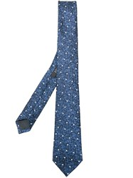 Z Zegna Polka Dot Embroidered Tie Silk Blue