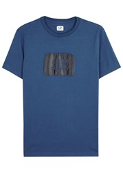 C.P. Company Blue Logo Print Cotton T Shirt