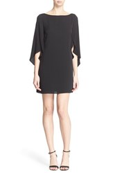 Women's Milly Butterfly Sleeve Stretch Silk Crepe Dress Black